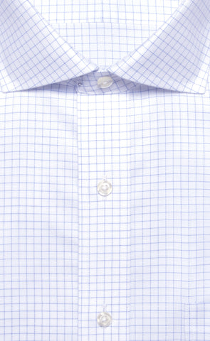 Wilkes & Riley Blue Twill Check English Spread Collar Alt