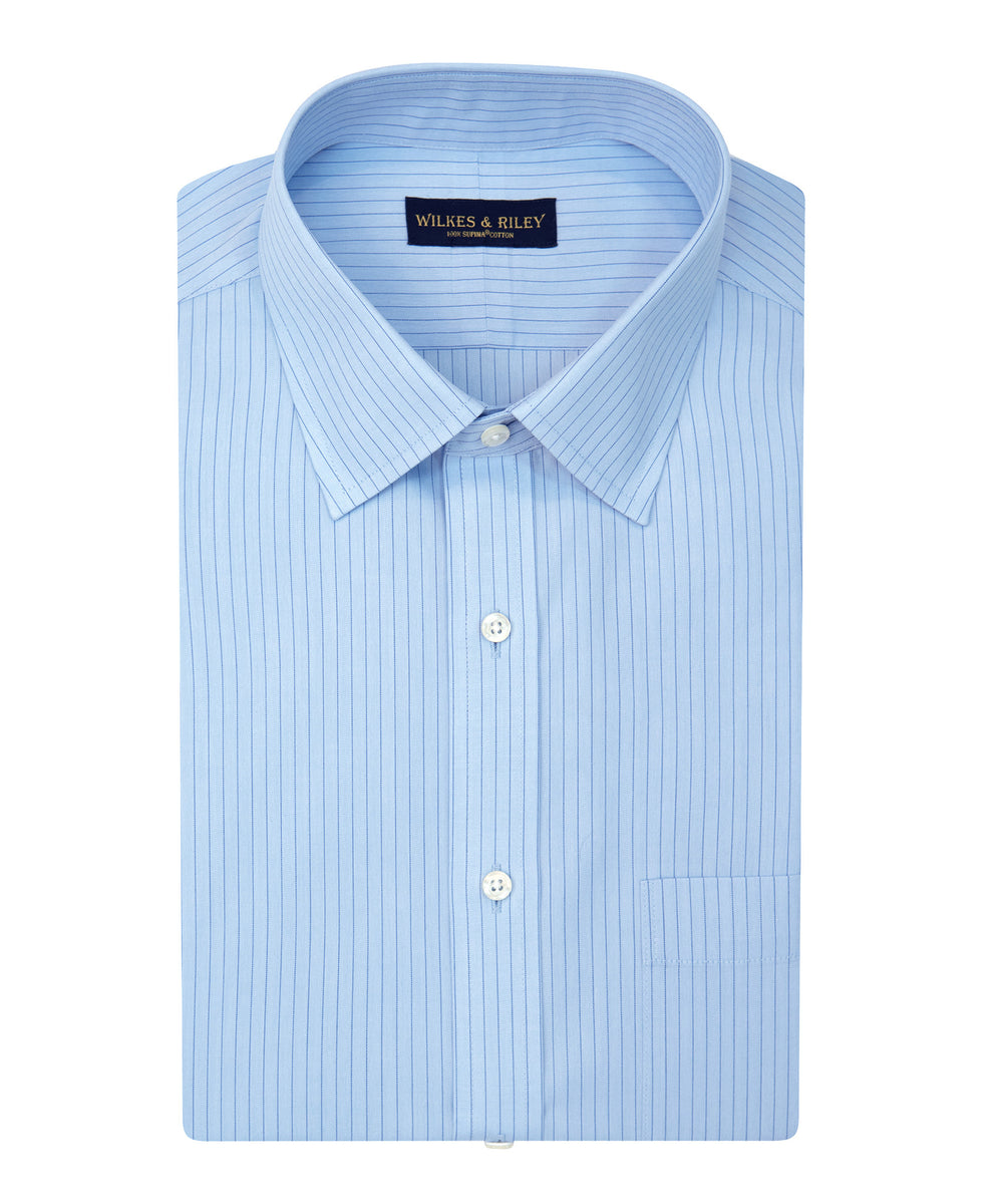 Wilkes and Riley Tailored Fit Blue With Navy Stripe Spread Collar Supima® Cotton Non-Iron Broadcloth
