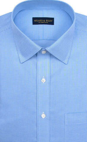 Tailored Fit Blue Houndstooth Spread Collar Supima® Cotton Non-Iron Twill Dress Shirt