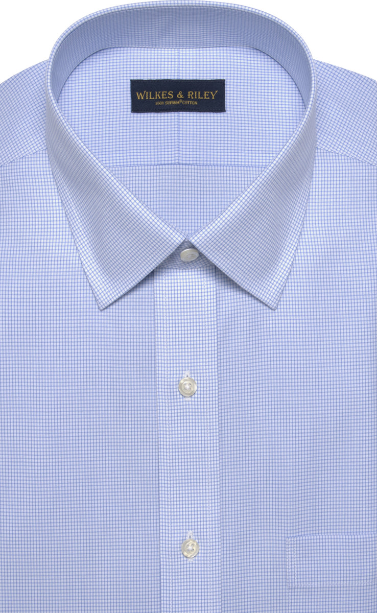 Wilkes & Riley Classic Fit Blue Mini Check Spread Collar Supima® Cotton Non-Iron Broadcloth Dress Shirt