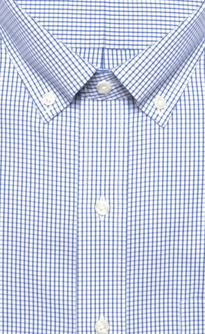 Wilkes & Riley Blue Tailored Fit Pinpoint Check Button Down Alt