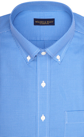 Classic Fit Blue Twill Mini Check Button-Down Collar Supima® Cotton Non-Iron Sport Shirt