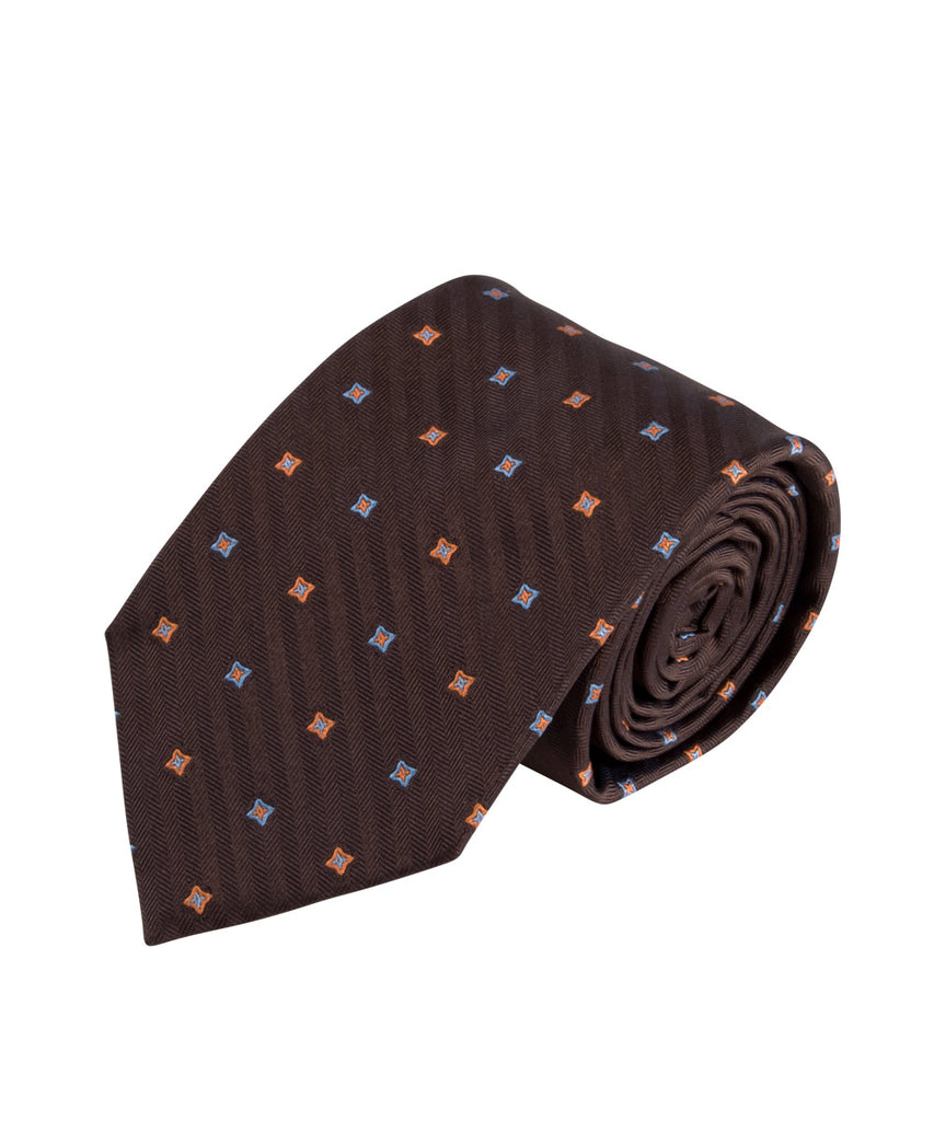 Brown Herringbone Neat Tie (Long)