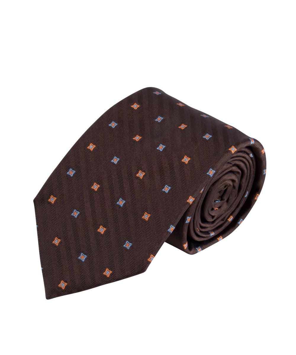 Brown Herringbone Neat Tie
