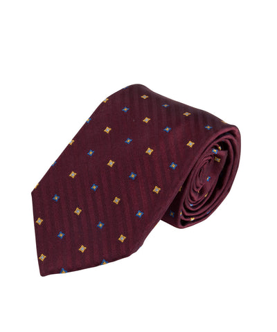 Burgundy Herringbone Neat Tie (Long)