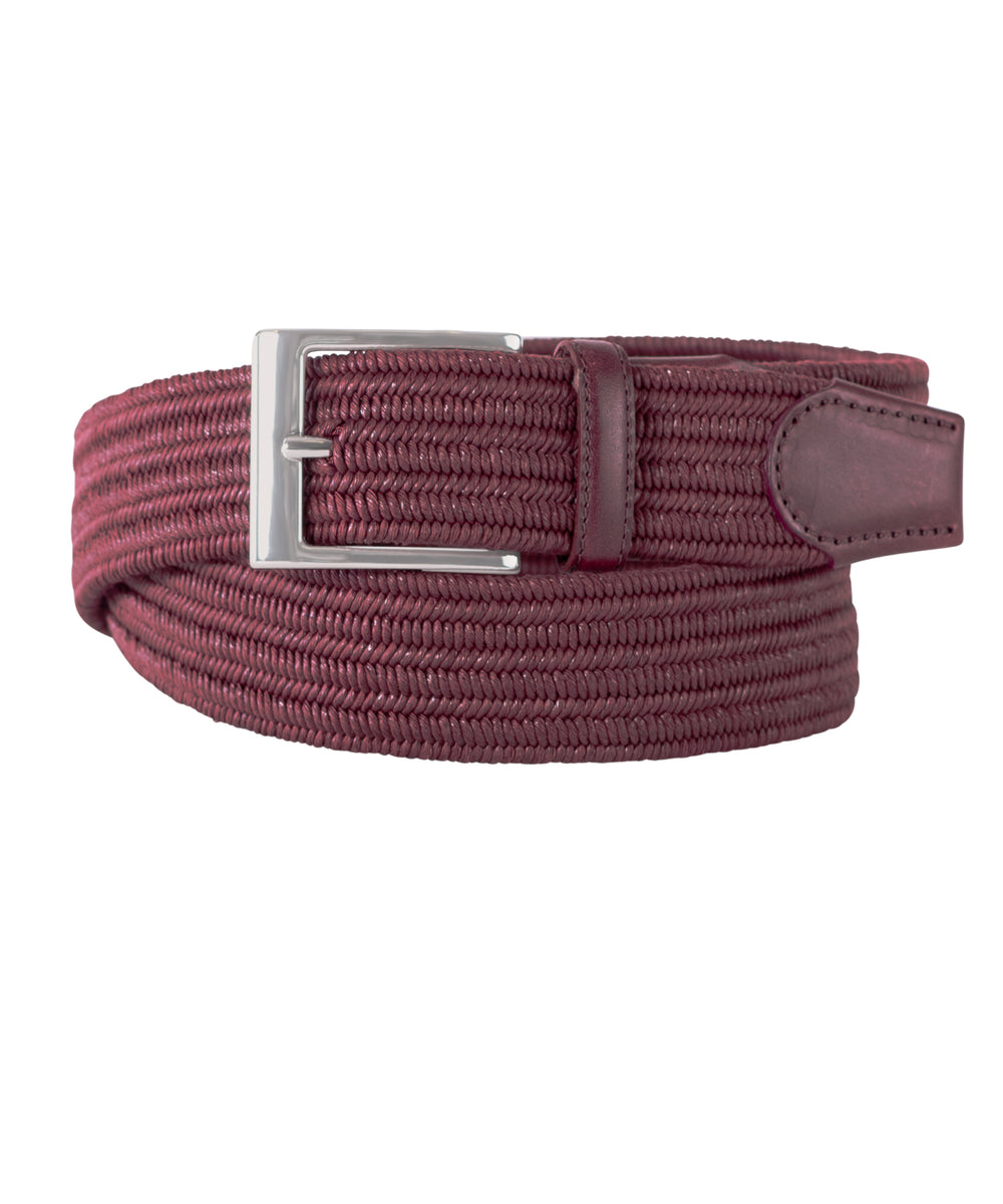 Burgundy Stretch with Brown Leather Trim Belt