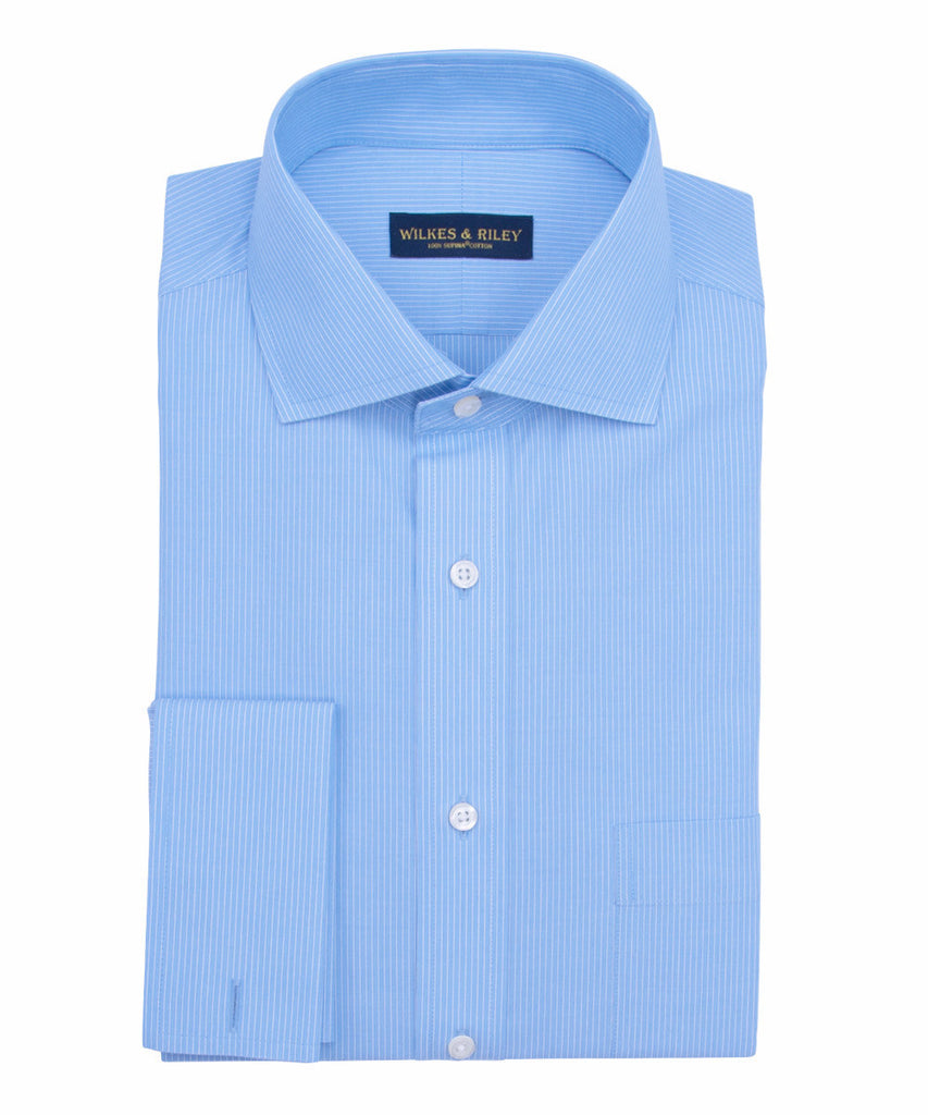Wilkes and Riley Tailored Fit Lt Blue Fine Line English Spread Collar French Cuff Supima® cotton Non-Iron Broadcloth Dress Shirt