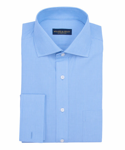 Tailored Fit Lt Blue Fine Line English Spread Collar French Cuff Supima® cotton Non-Iron Broadcloth Dress Shirt