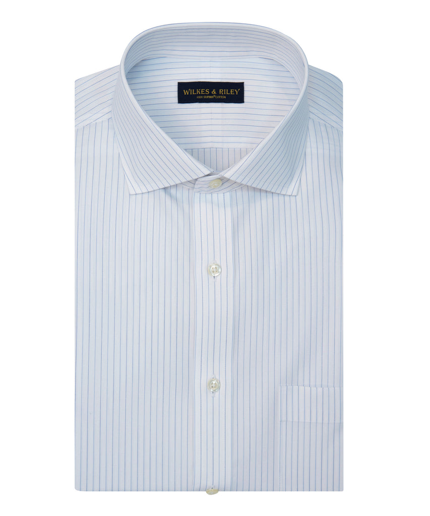 Wilkes and Riley Slim Fit Blue/ Navy Alternating Stripe English Spread Collar Supima® Cotton Non-Iron Broadcloth Dress Shirt