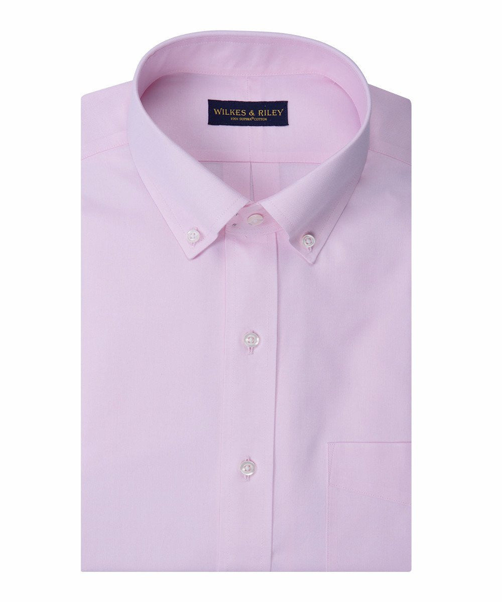 Slim Fit Pink Solid Button-Down Collar Supima® cotton Non-Iron Pinpoint Oxford Dress Shirt