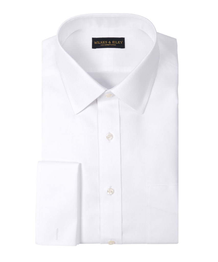 Tailored Fit White Basketweave Spread Collar French Cuff Supima® Cotton Non-Iron Dress Shirt