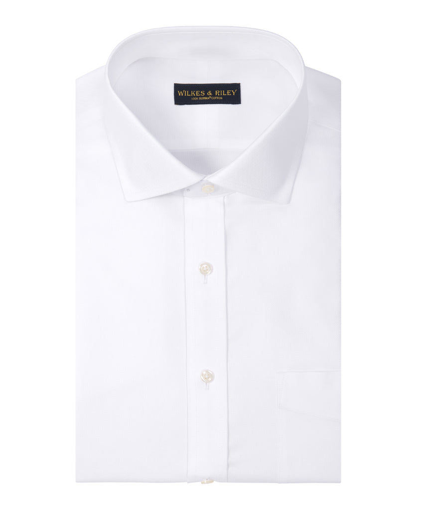 Tailored fit White Basketweave English Spread Collar Supima® Cotton Non-Iron Dress Shirt