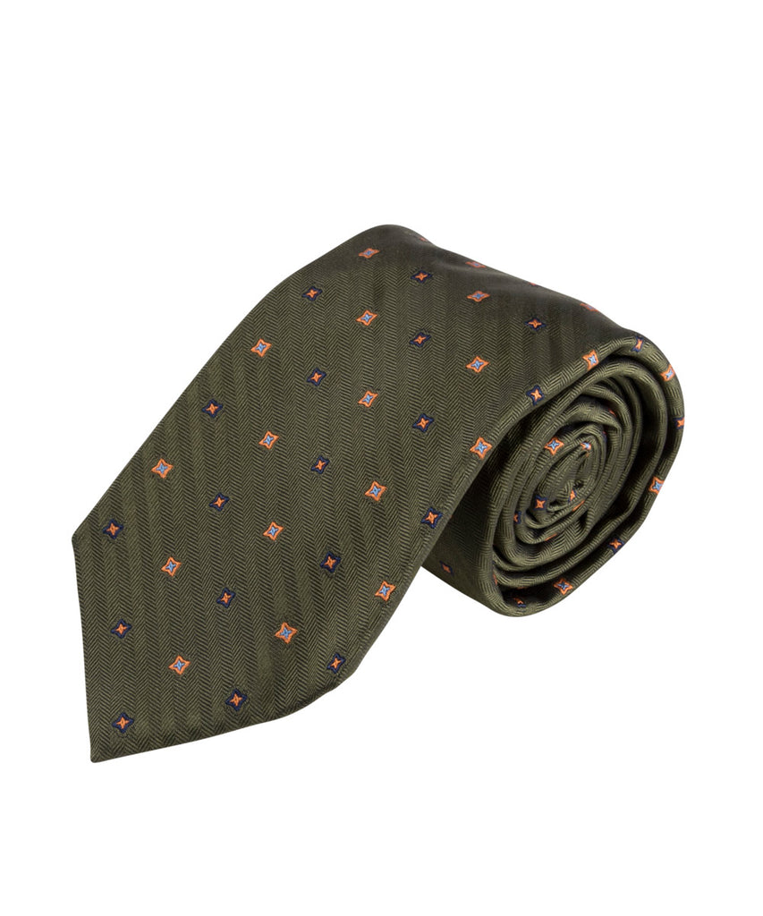Green Herringbone Neat Tie (Long)