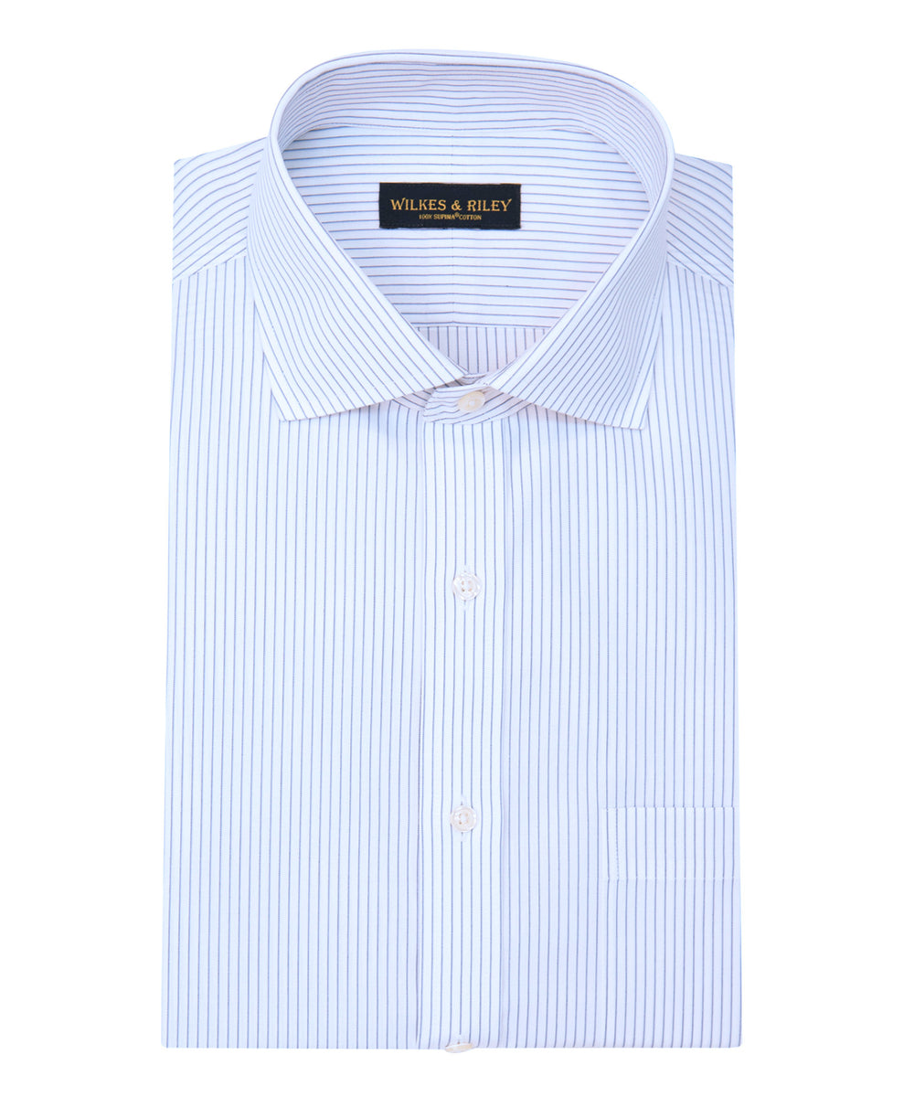 Wilkes and Riley Classic Fit Grey Stripe English Spread Collar Supima® Cotton Non-Iron broadcloth Dress Shirt