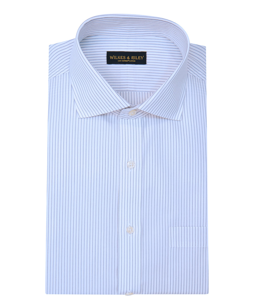 Wilkes & Riley Tailored Fit Grey Stripe English Spread Collar Supima® Cotton Non-Iron Broadcloth Dress Shirt