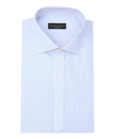 Classic Fit Grey Stripe English Spread Collar Supima® Cotton Non-Iron broadcloth Dress Shirt
