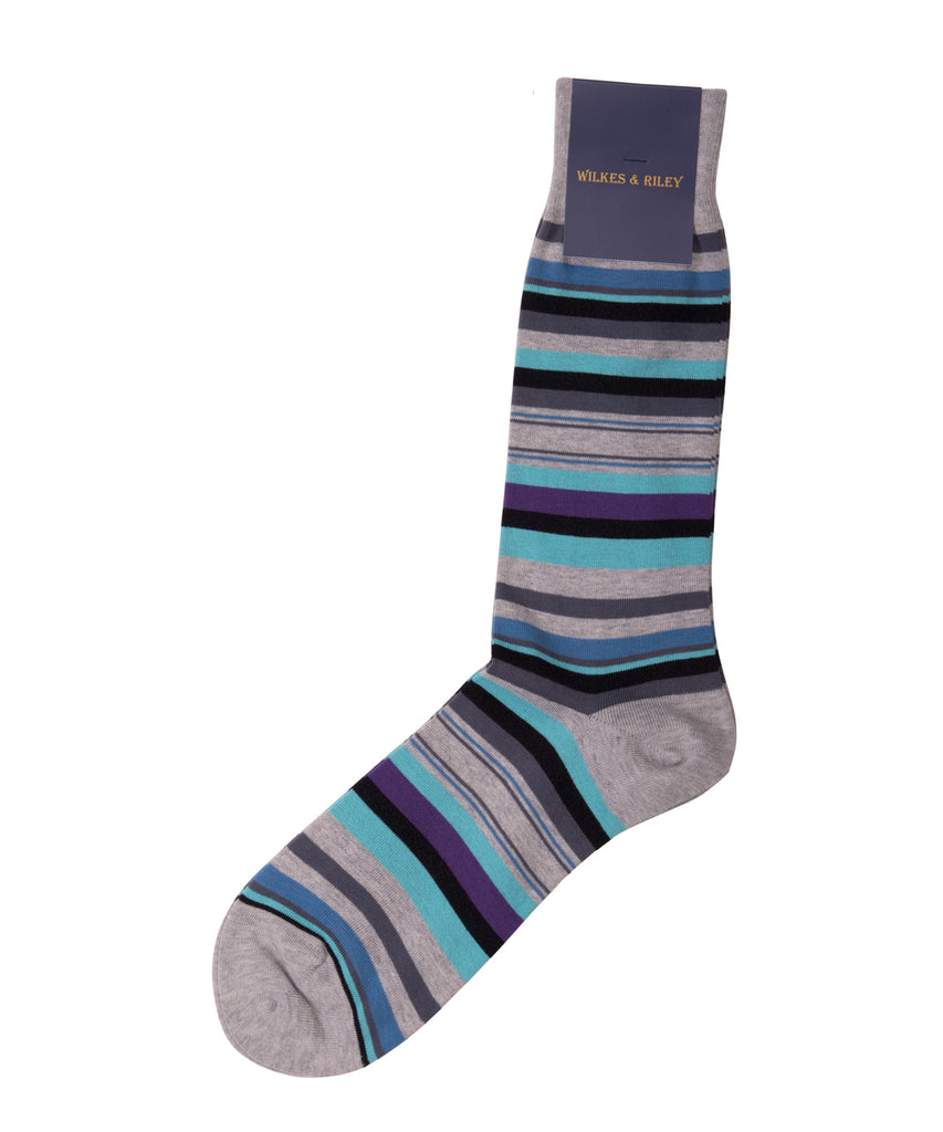 Grey, Aqua, Plum Multi Stripe Cotton - Mid Calf