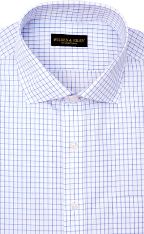 Wilkes & Riley Slim Fit White Ground Large Check English Spread Collar Supima® Cotton Non-Iron Broadcloth Dress Shirt