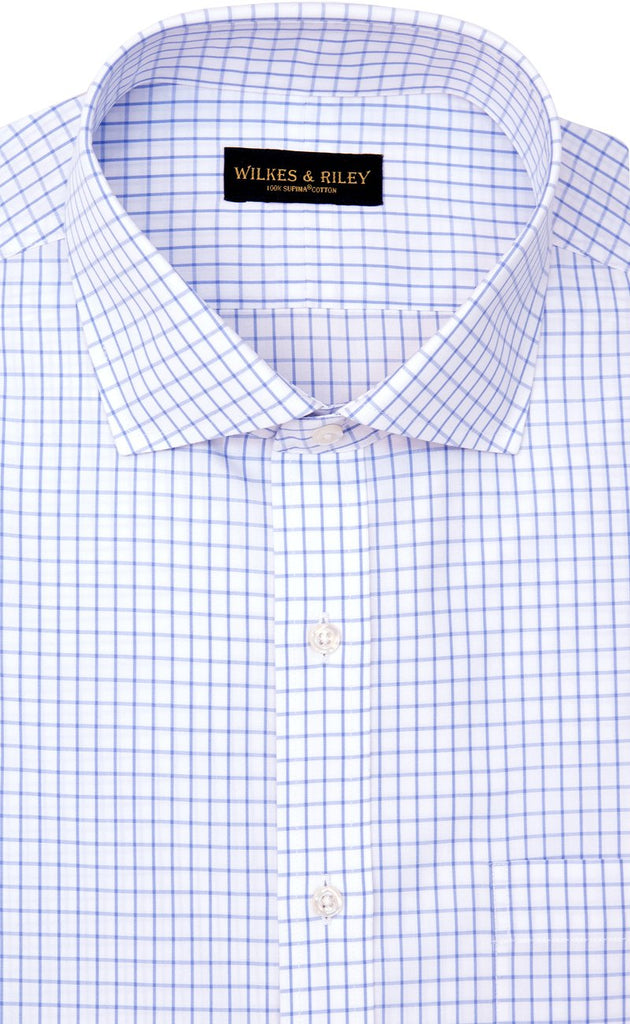 Wilkes and Riley Tailored Fit Blue Large Check English Spread Collar  Supima® Cotton Non-Iron Broadcloth Dress Shirt