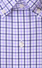 Tailored Fit Lavender / Navy Tattersall Button-Down Collar Supima® Cotton Non-Iron Broadcloth Sport Shirt (B/T)