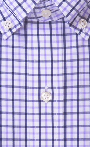 Classic Fit Lavender / Navy Tattersall Button-Down Collar Supima® Cotton Non-Iron Broadcloth Sport Shirt