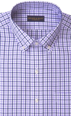 Tailored Fit Lavender / Navy Tattersall Button-Down Collar Supima® Cotton Non-Iron Broadcloth Sport Shirt