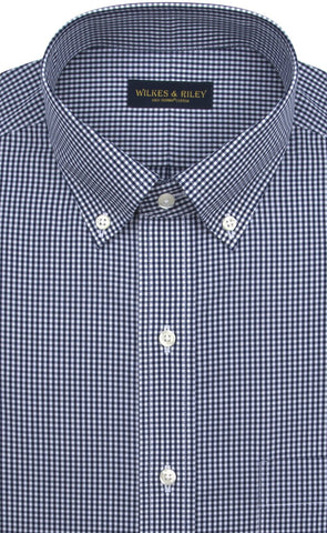 Classic Fit Navy Gingham Button-Down Collar Supima® Cotton Non-Iron Broadcloth Sport Shirt (B/T)