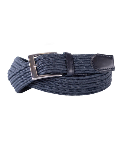 Navy Stretch with Tonal Navy Leather Trim Belt