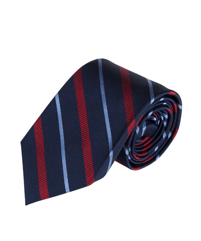 Navy, Red & Light Blue Stripe (Long)