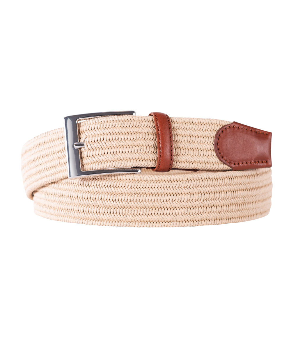 Tan Stretch with Brown Leather Trim Belt