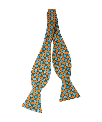 Orange Medallion Self Bow Tie