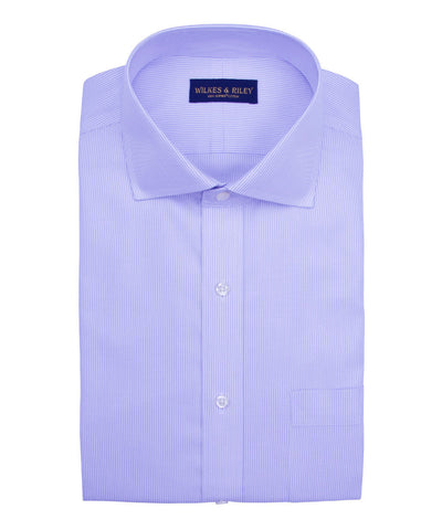 Classic Fit Purple Stripe English Spread Collar Supima® Cotton Non-Iron Twill Dress Shirt