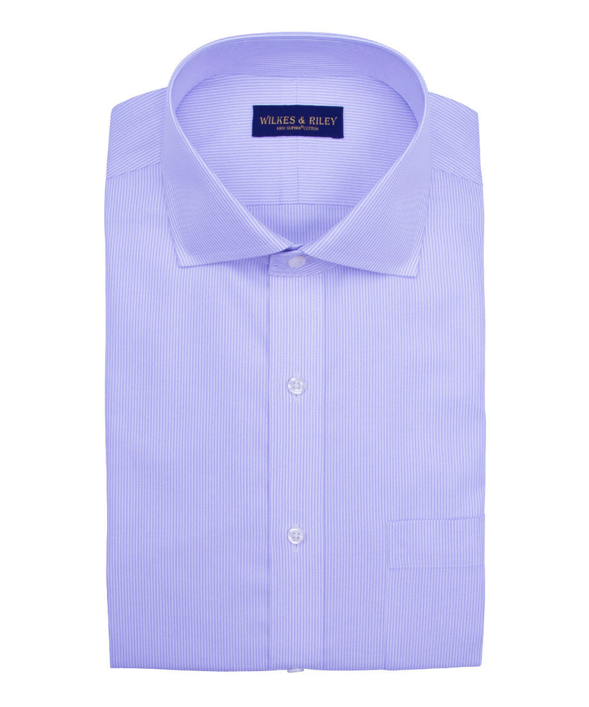 Tailored Fit Purple Stripe English Spread Collar Supima® Cotton Non-Iron Twill Dress Shirt