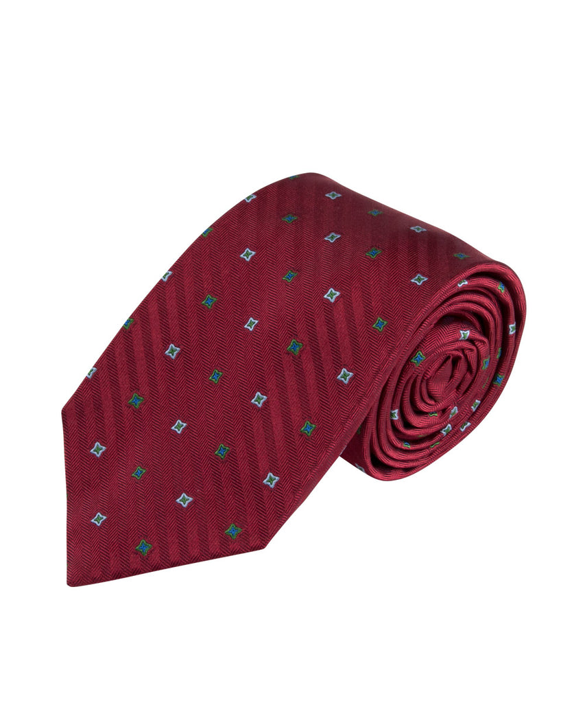 Wilkes & Riley Red Herringbone Neat Tie