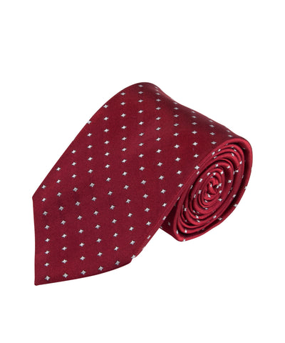 Red Micro Sqaures Tie (Long)