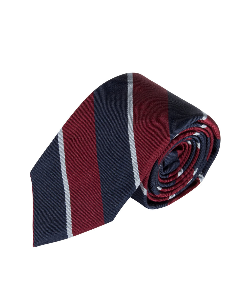 Red, Navy & White Repp Stripe (Long)