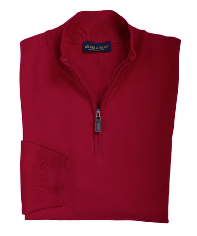 Ultra-fine Zegna Baruffa Half-Zip Merino Wool Sweater - Red