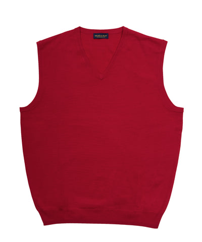 Zegna Baruffa Italian Merino Wool V-Neck Sweater Vest- Red