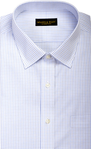 Tailored Fit Light Sky / Grey  Twill Check Spread Collar Supima® Cotton Non-Iron Dress Shirt