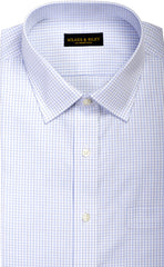 Wilkes & Riley Sky & Grey Twill Check Spread Collar