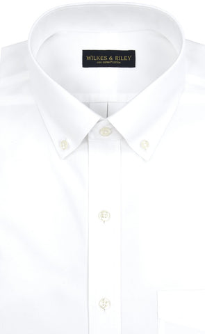 Classic Fit White Solid Button-Down Collar Supima® Cotton Non-Iron Pinpoint Oxford Dress Shirt (B/T)