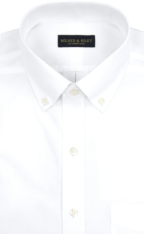 Tailored Fit White Solid Button-Down Collar Supima® Cotton Non-Iron Pinpoint Oxford Dress Shirt
