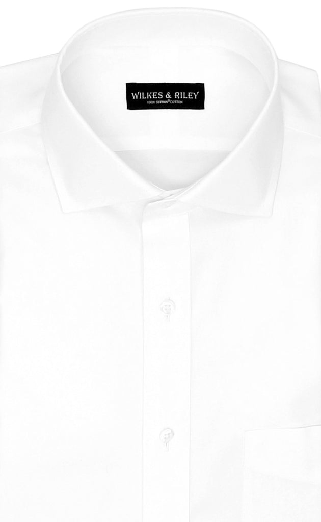 Wilkes and Riley Slim Fit White Solid English Spread Collar Supima® Cotton Non-Iron Pinpoint Oxford Dress Shirt