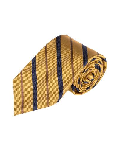 Yellow, Navy & Caramel Stripe (Long)