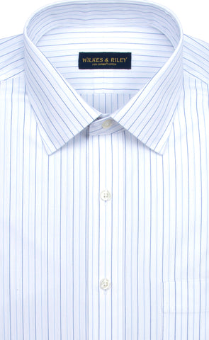 Tailored Fit Alternating Stripe Spread Collar Supima® Cotton Non-Iron Pinpoint Oxford Dress Shirt