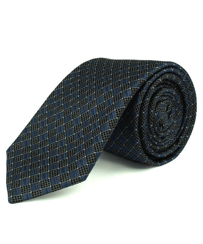 Blue Grid Basketweave Tie