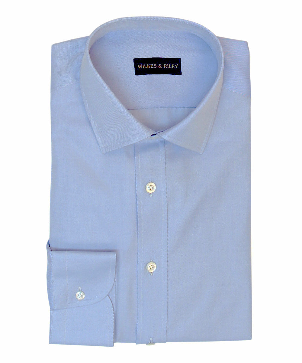 Wilkes and Riley Tailored Fit Blue Twill Solid w/ Spread Collar Button Cuff