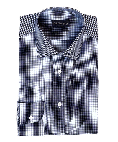 Navy Gingham with English Spread collar and Button Cuff