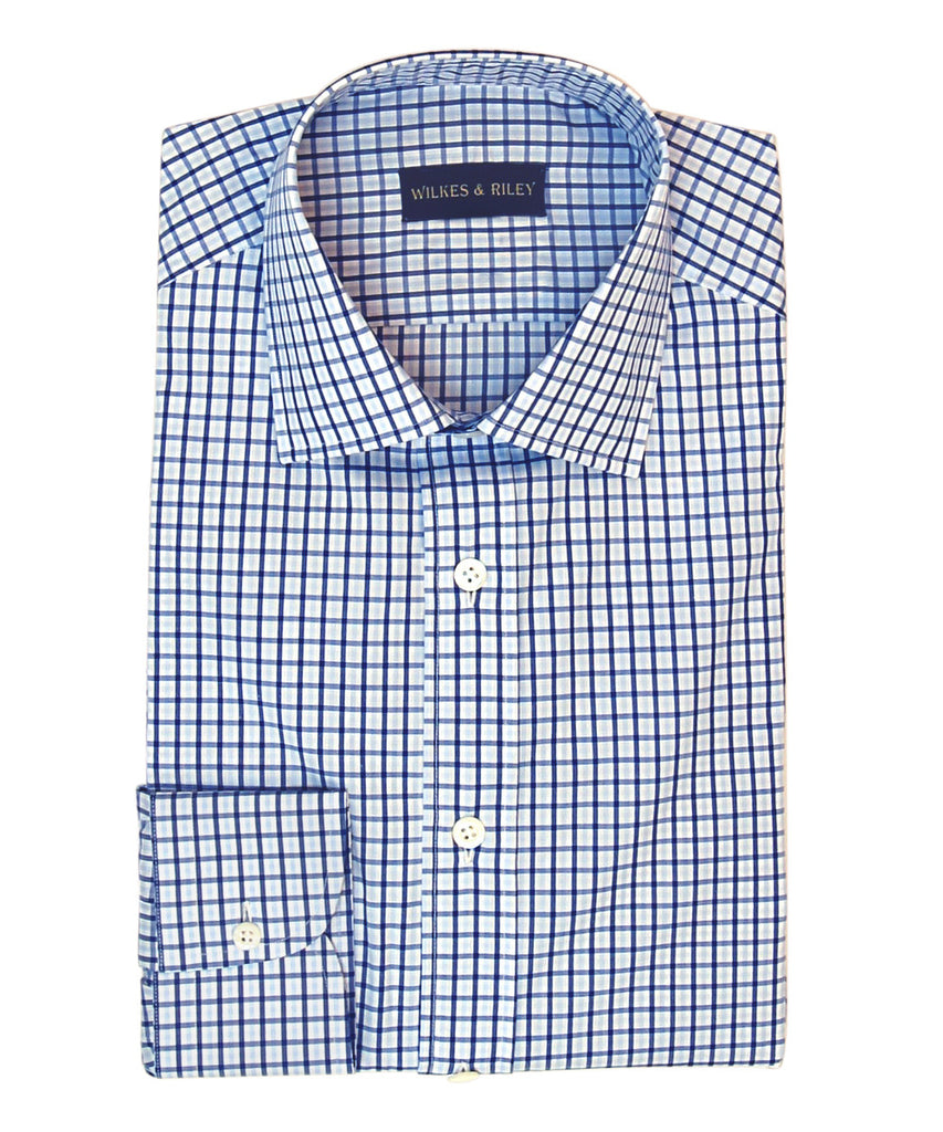 Wilkes & Riley Blue / Lt Blue Plaid with English Spread collar and Button Cuff