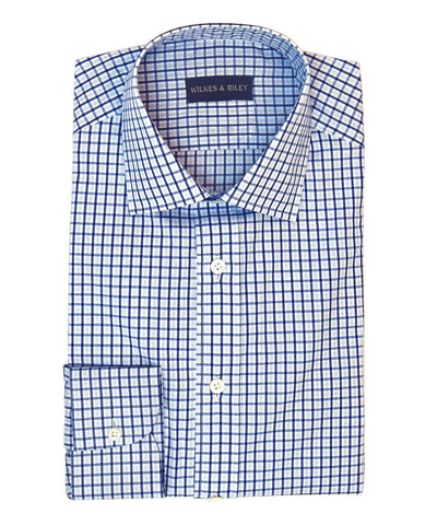 Blue / Lt Blue Plaid with English Spread collar and Button Cuff